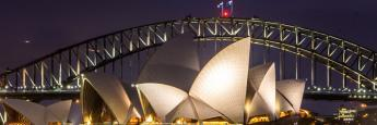 Sydney Opera House de noche, Sidney, Australia