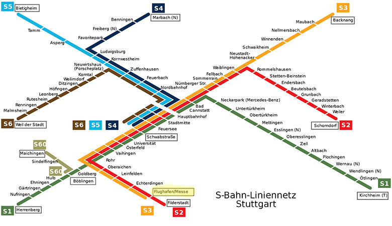 Mapa de trenes en Stuttgart