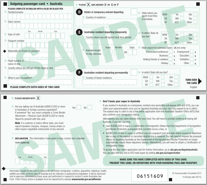 Outgoing Passenger Card Australia