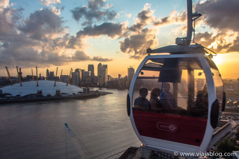 O2 y Canary Wharf desde Emirates Air Line, Londres