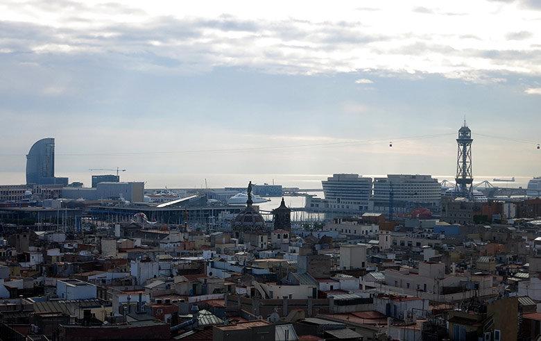 Vistas al puerto de Barcelona
