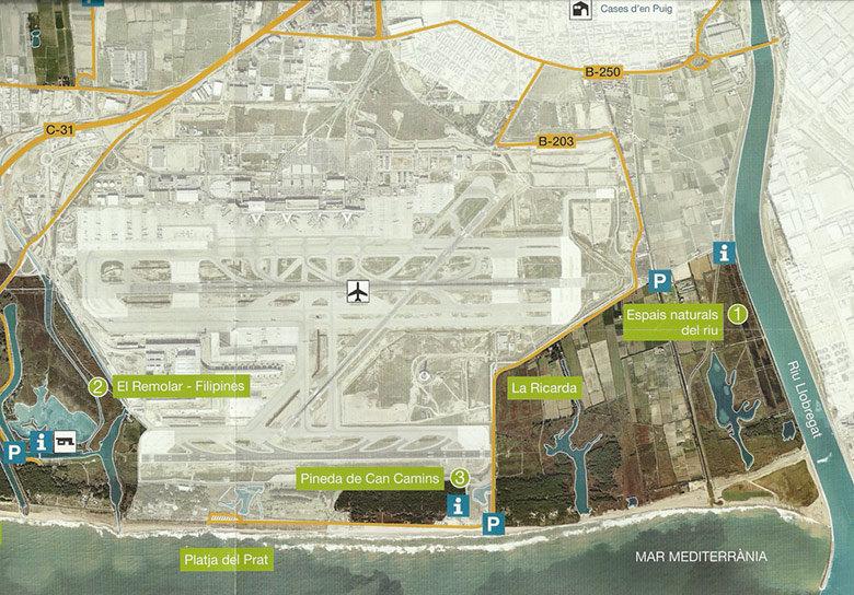 Mapa del espacio natural del Delta del Llobregat