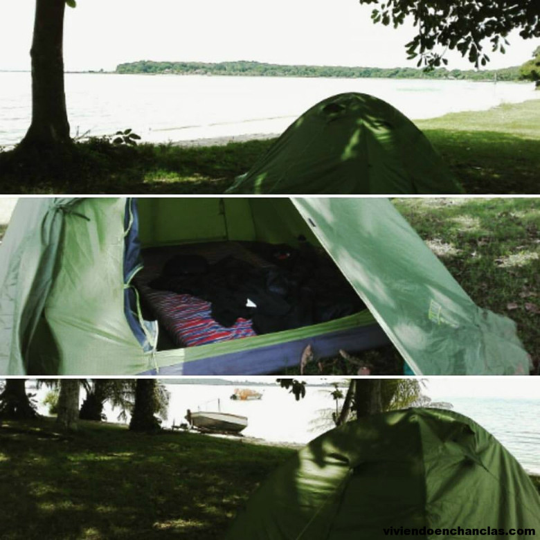 Acampando en la orilla del lago Victoria Uganda