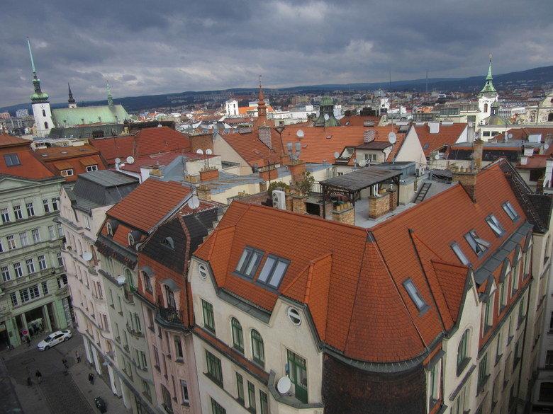 Vistas desde la torre del antiguo Ayuntamiento de Brno, República Checa