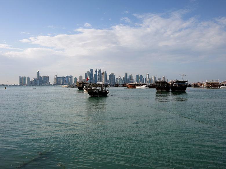 Vistas al skyline desde la Corniche de Doha