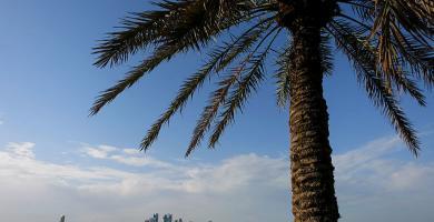 Vistas a los barcos y el skyline de Doha desde la Corniche