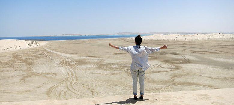 Vistas a Arabia Saudí desde el desierto de Qatar
