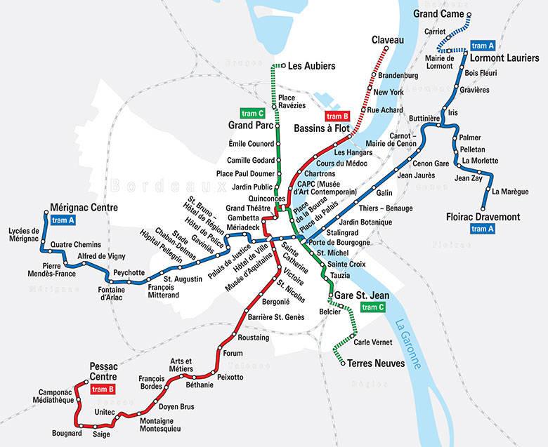 Mapa de transportes de Burdeos
