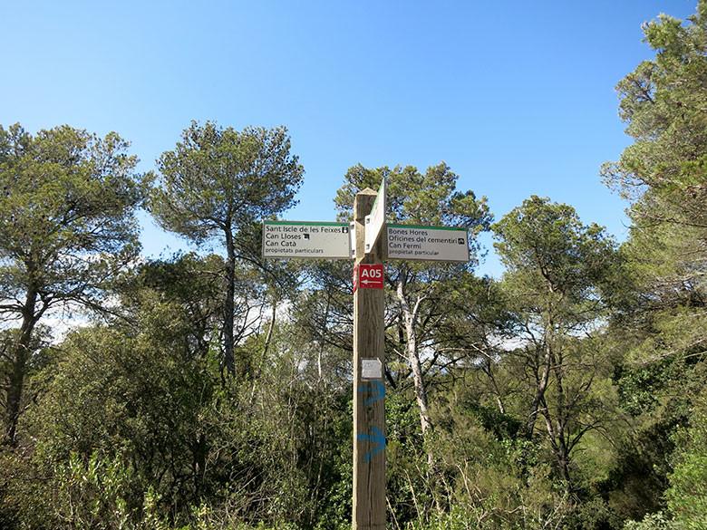 Rótulos indicando los diferentes caminos por el Valle de Sant Iscle