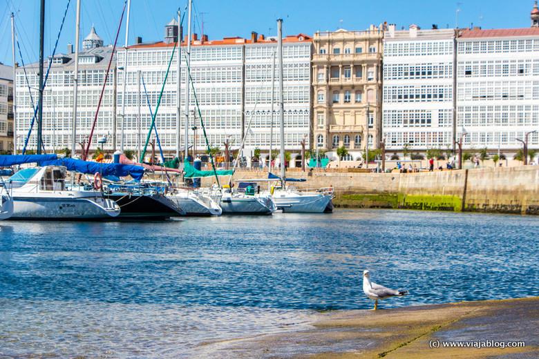 Fachadas con galerías típicas de la Coruña
