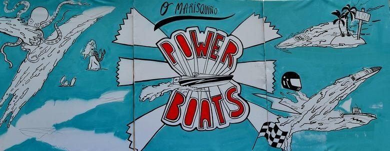 Cartel pintado a mano de los fast boats O Marisquiño