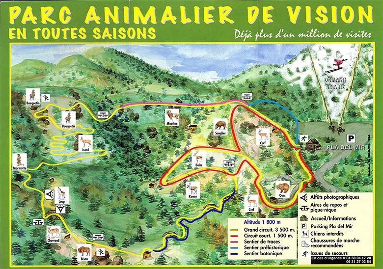 Mapa con los dos recorridos detallados en el Parque de los Animales de Les Angles