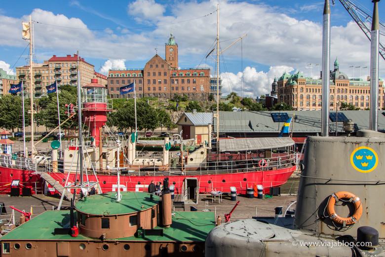 Algunos barcos del Museo Maritiman, Gotemburgo, Suecia