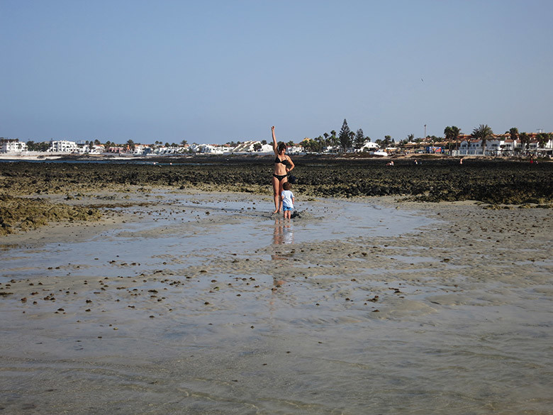 La playa de Corralejo con marea baja