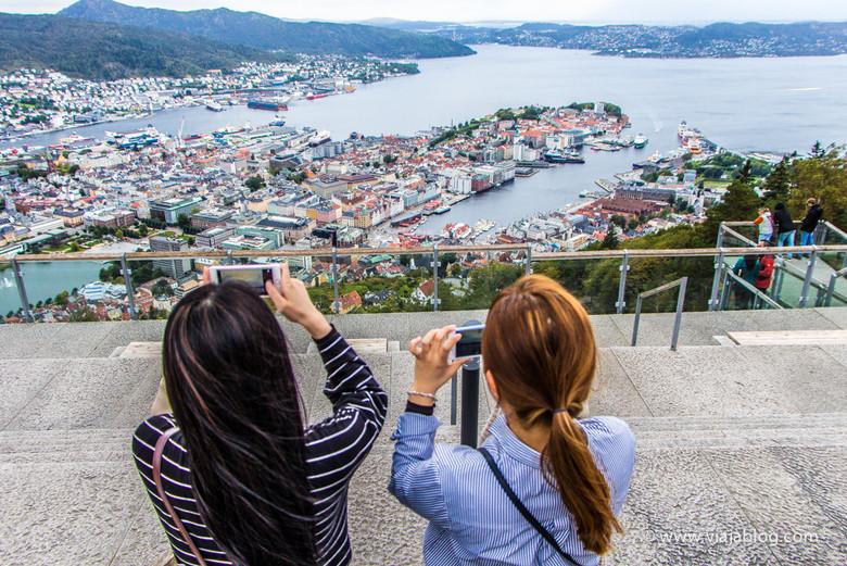 Bergen desde Fløyen, Noruega