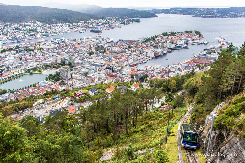 Tren Fløibanen subiendo a Fløyen, Bergen, Noruega