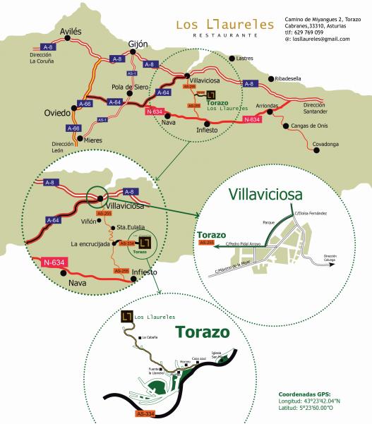 Cómo llegar a Casa Rural Restaurante Los Llaureles (Torazo, Asturias)