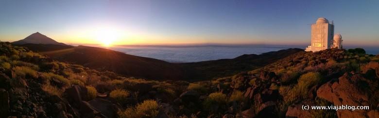 Puesta Sol con Teide y Observatorio Astronómico, Tenerife, Islas Canarias