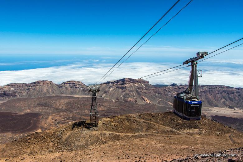 Teleférico subiendo a Teide, Tenerife, Islas Canarias