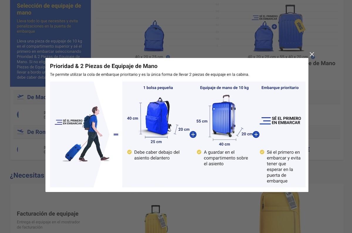 Máximo equipaje de mano con Ryanair