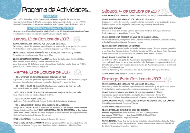 Programa Actividades Fiesta de la Vendimia, Cangas del Narcea, Asturias