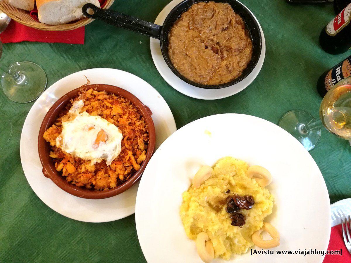 Morteruelo, Migas y Ajoarriero del Hostal Restaurante Los Callejones (Cuenca)