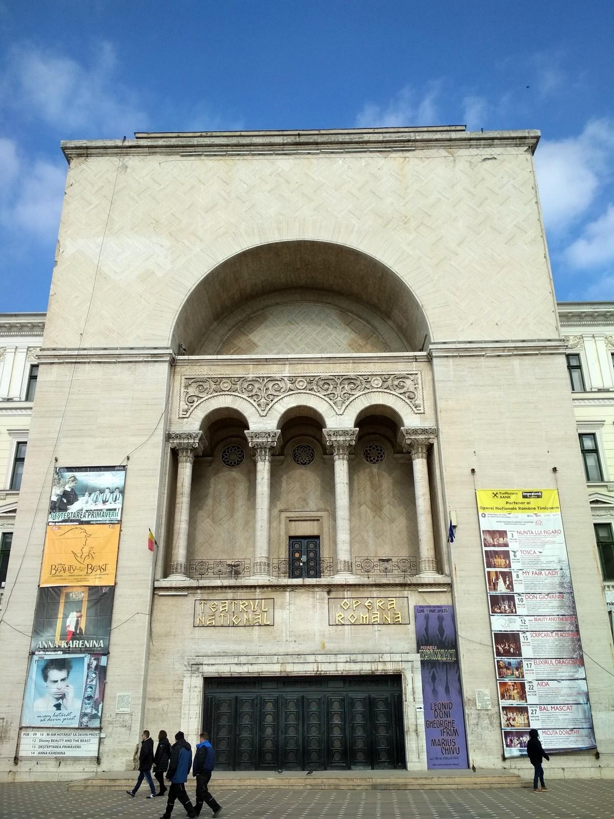 Fachada de la Ópera de Timisoara