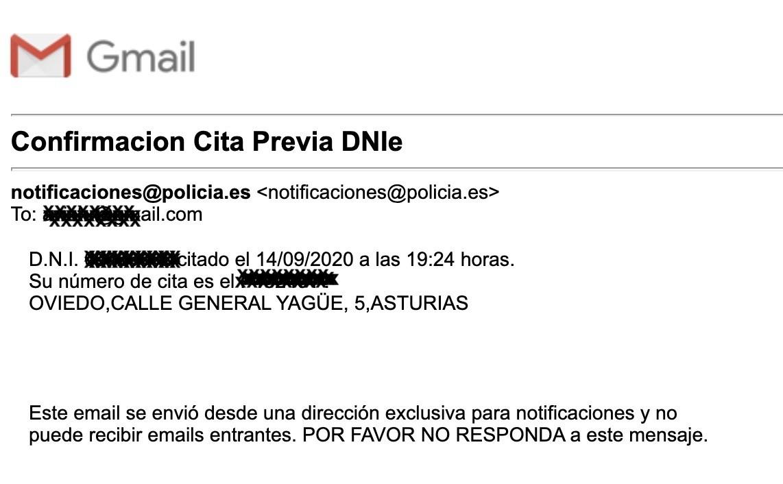 Email de confirmación de cita previa para solicitar pasaporte