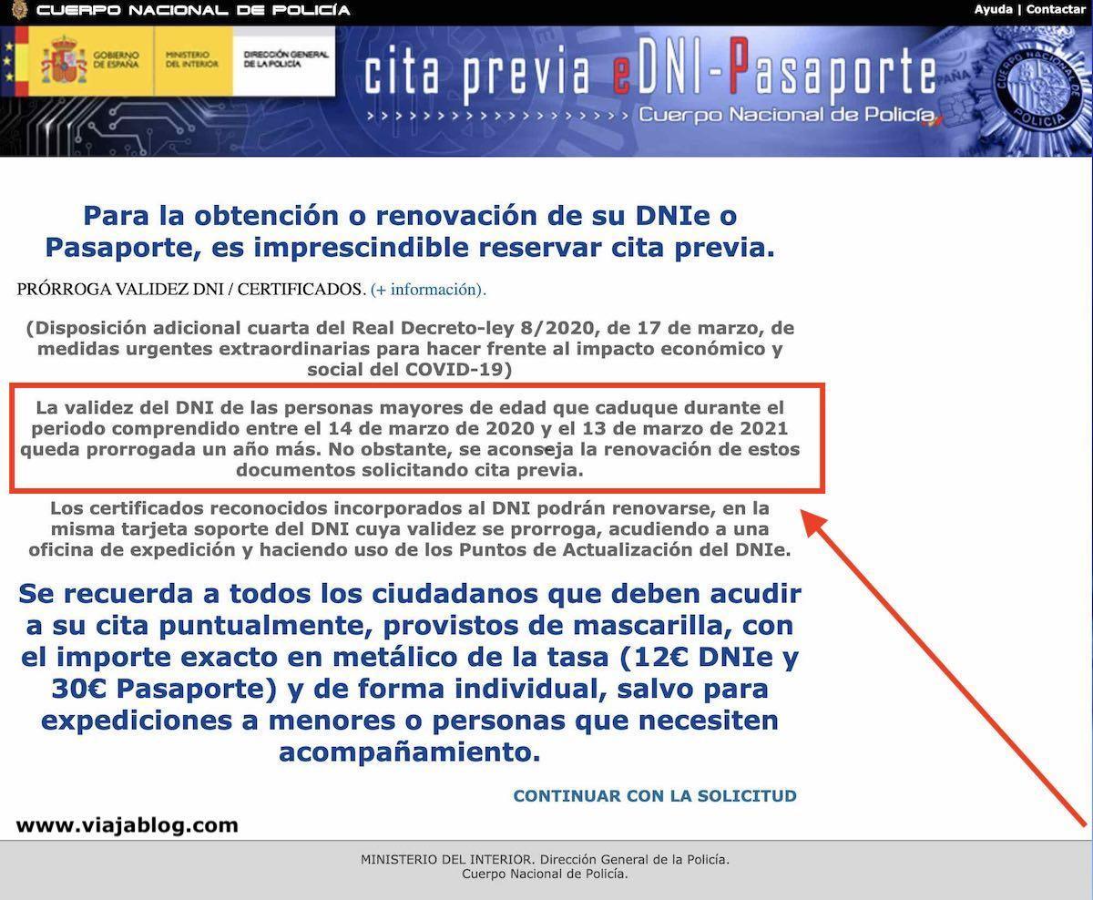 Prórroga de pasaporte y DNI