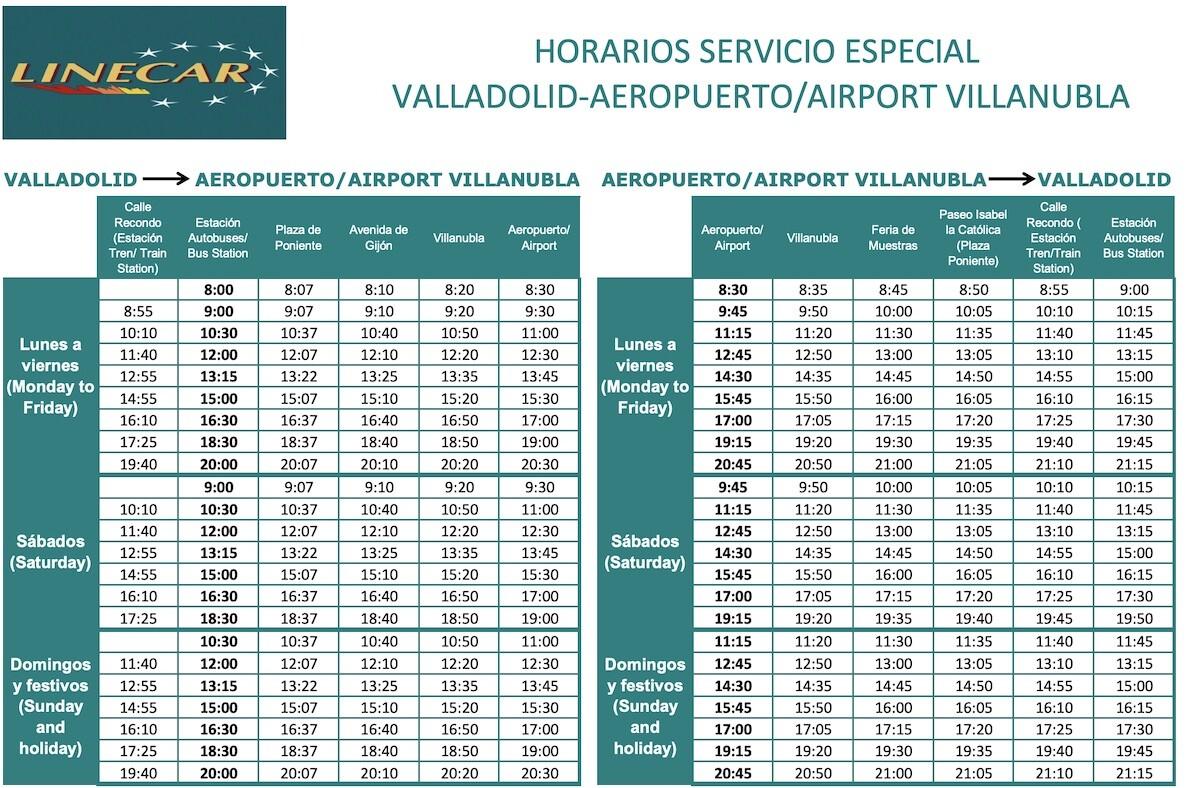 Horario Linecar Aeropuerto Valladolid