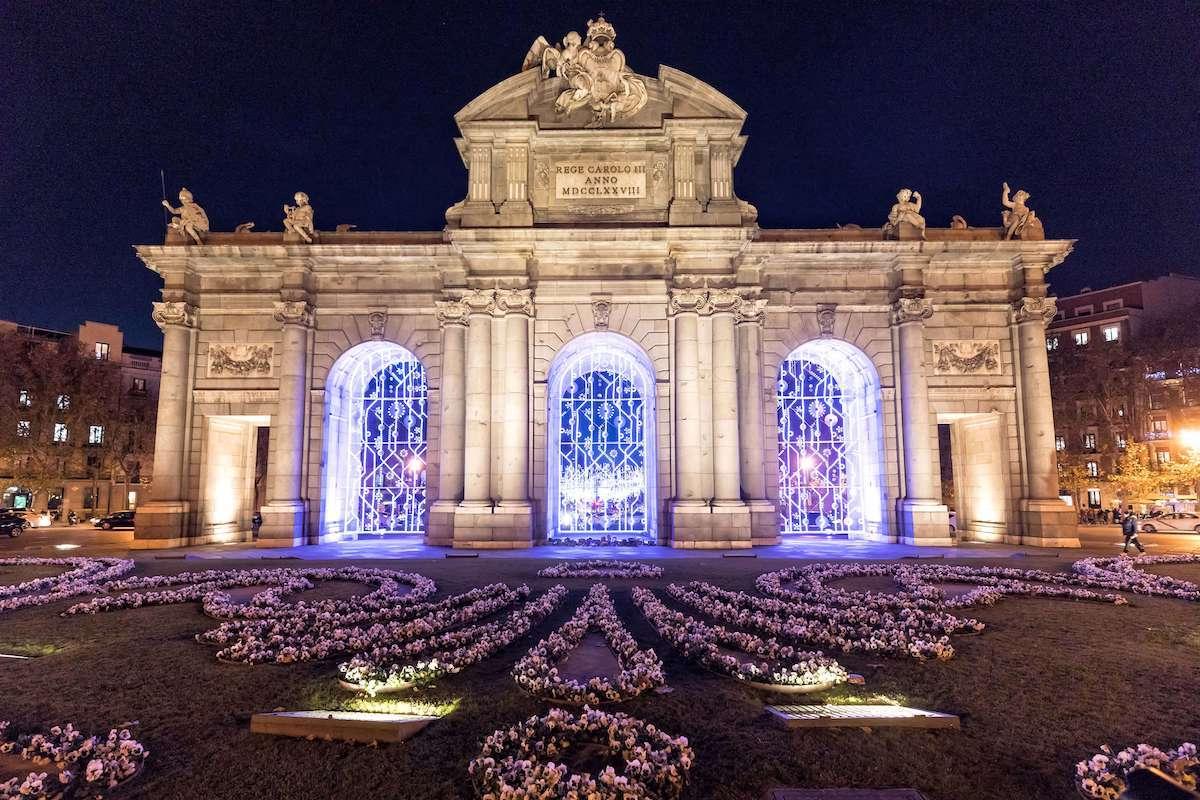 Puerta de Alcalá en Madrid en Navidad