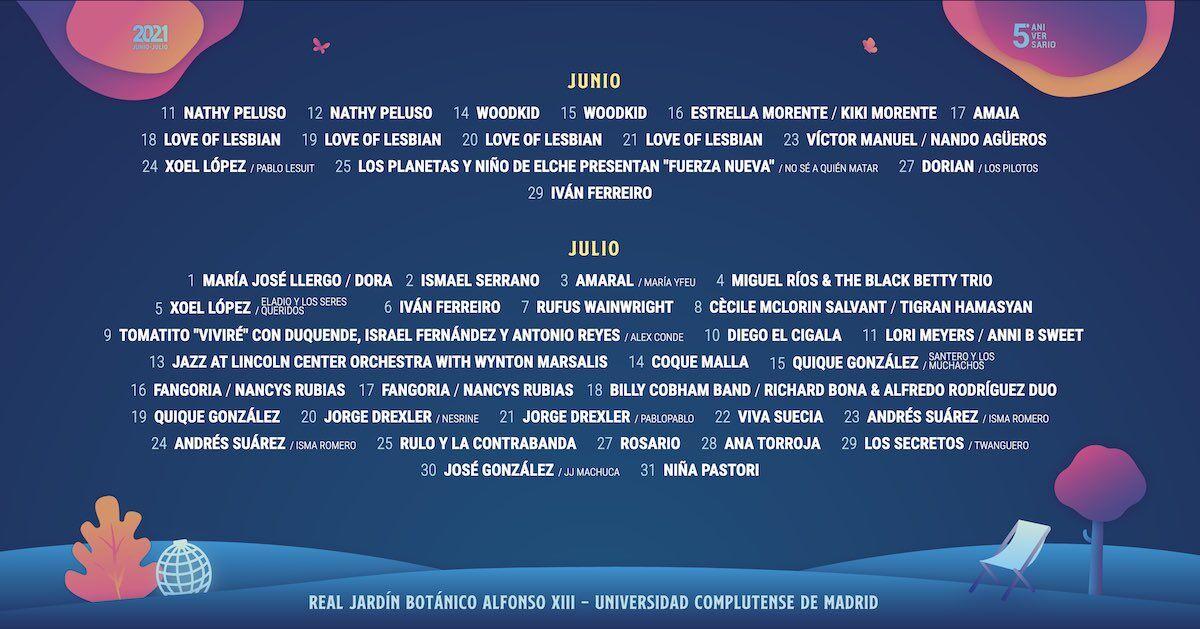 """Calendario de conciertos """"Las Noches del Botánico"""""""