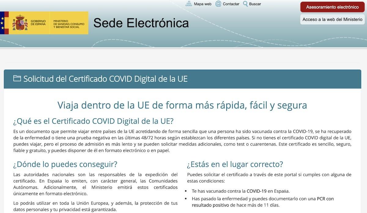 Certificado COVID Digital UE España