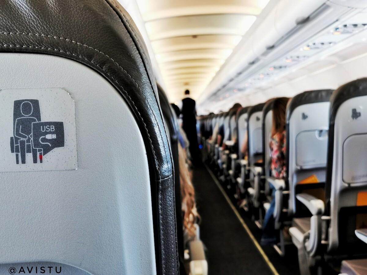 Asientos con USB en nuestro vuelo de Madrid a Zagreb