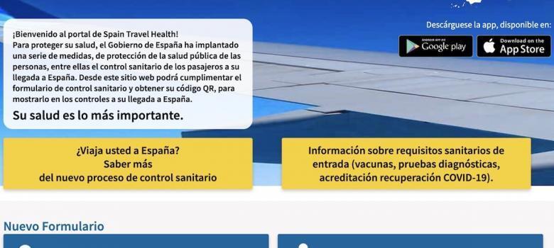 Botones para iniciar el formulario en la web Spain Travel Health (Spth)
