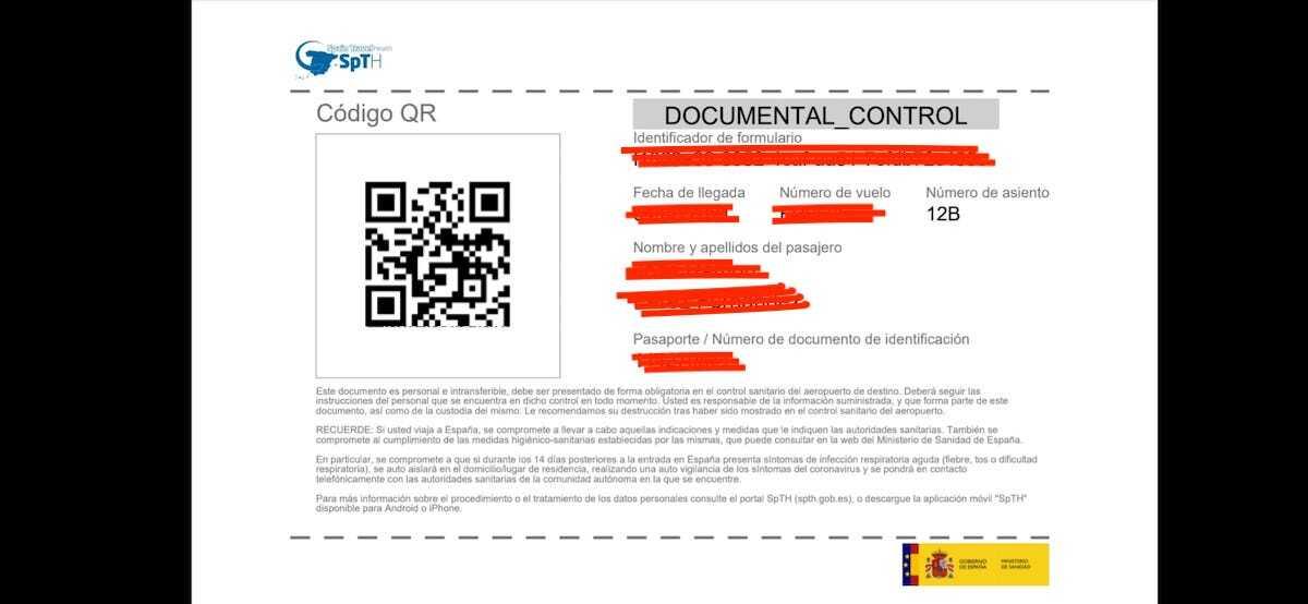 Código QR Spain Travel Health (Spth) recibido en .pdf por email