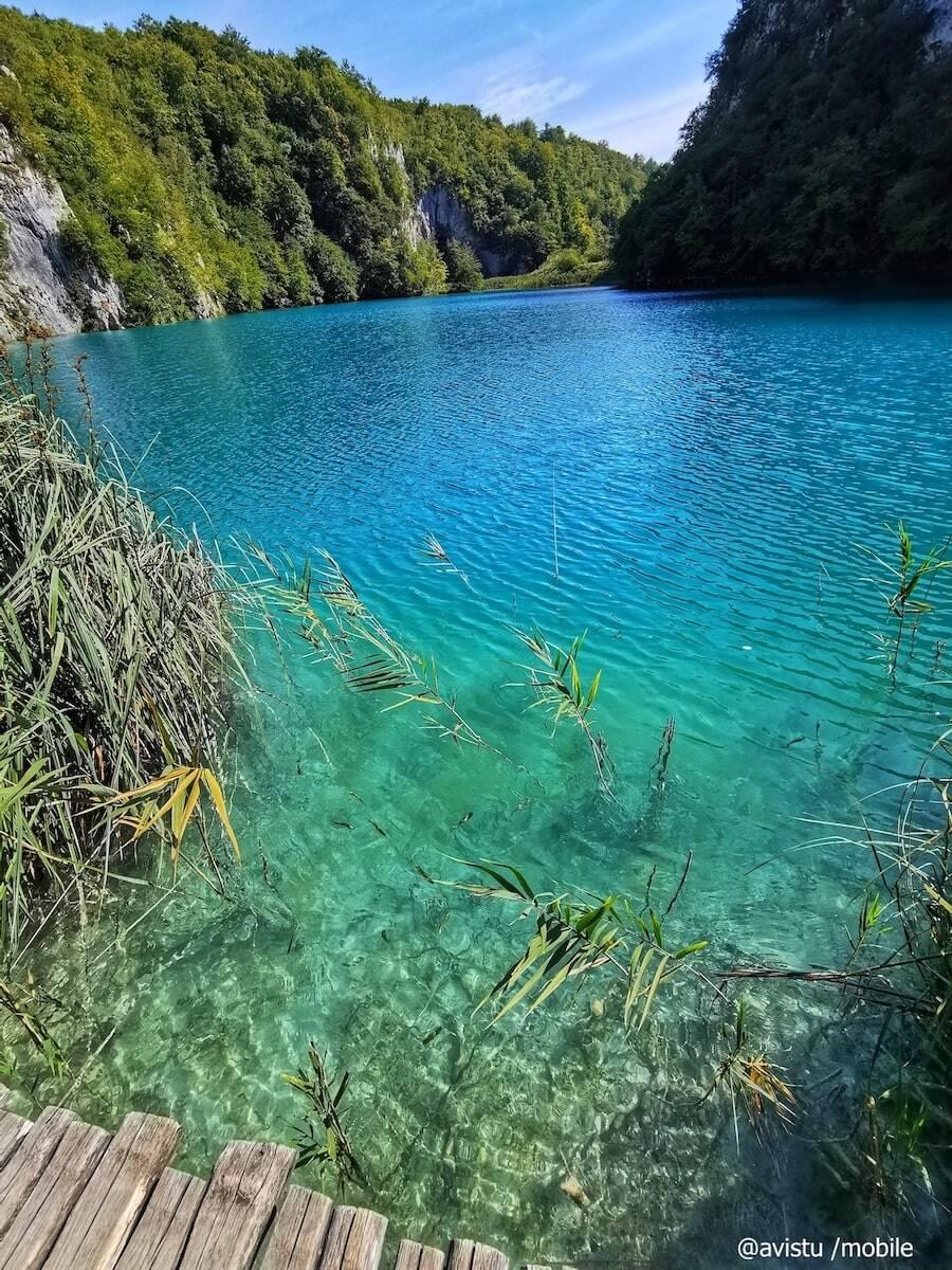 Los colores del agua en uno de los lagos de Plitvice en Croacia